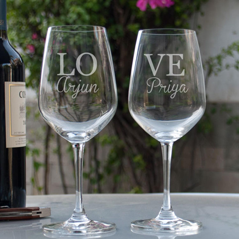 Love U Personalized Gift Wine Glass