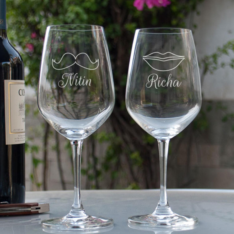 Beard And Lips Personalized Gift Wine Glass