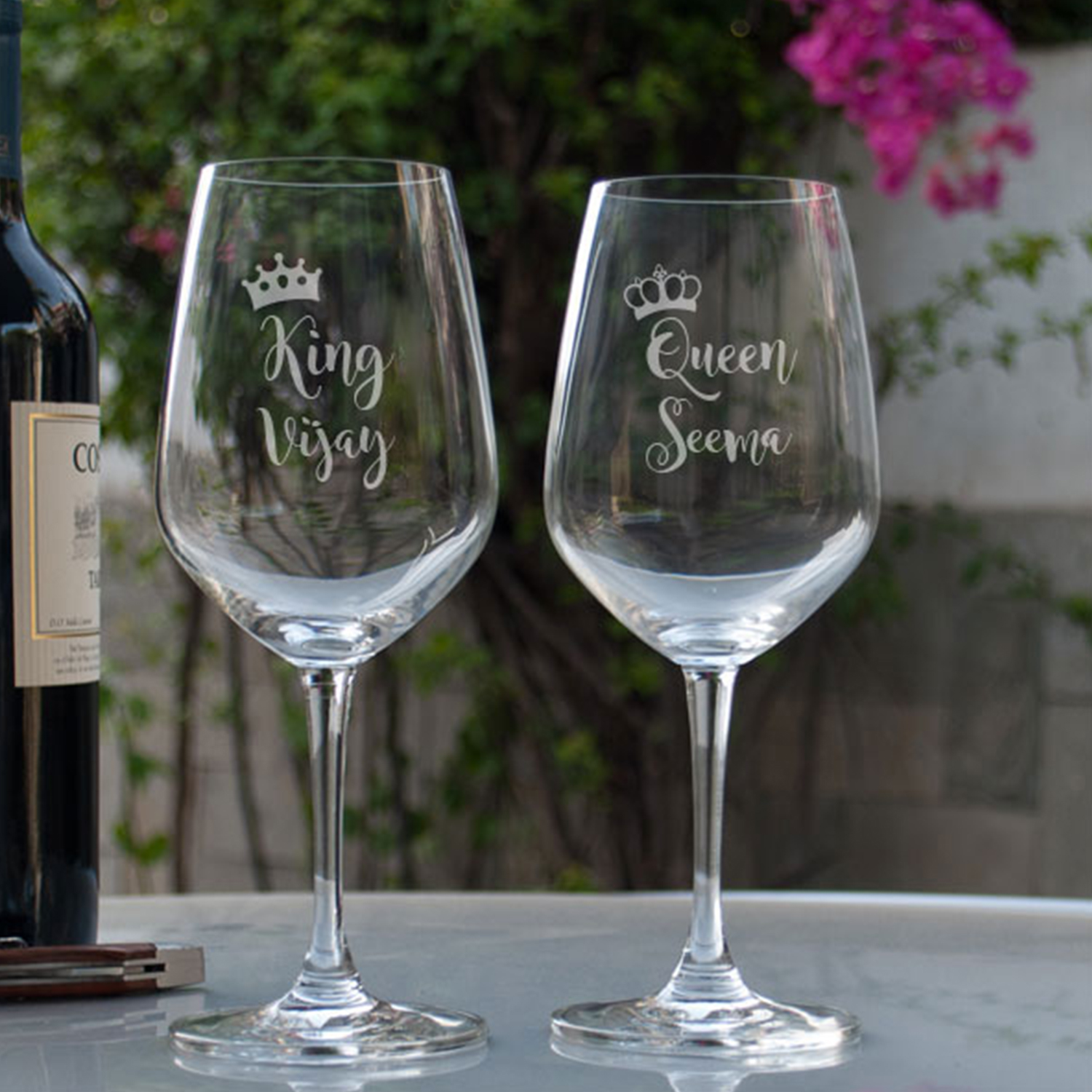 King And Queen Personalized Gift Wine Glass