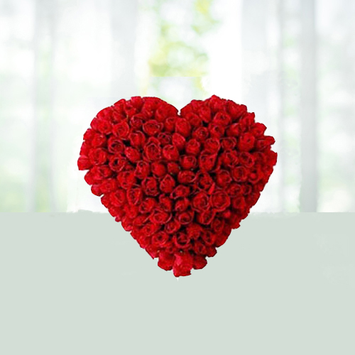 75 Red Roses Heart Shaped for Valentine Day Gifts to India