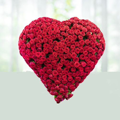 100 Red Roses Heart Shaped Arrangement for Valentine Day Gifts to India
