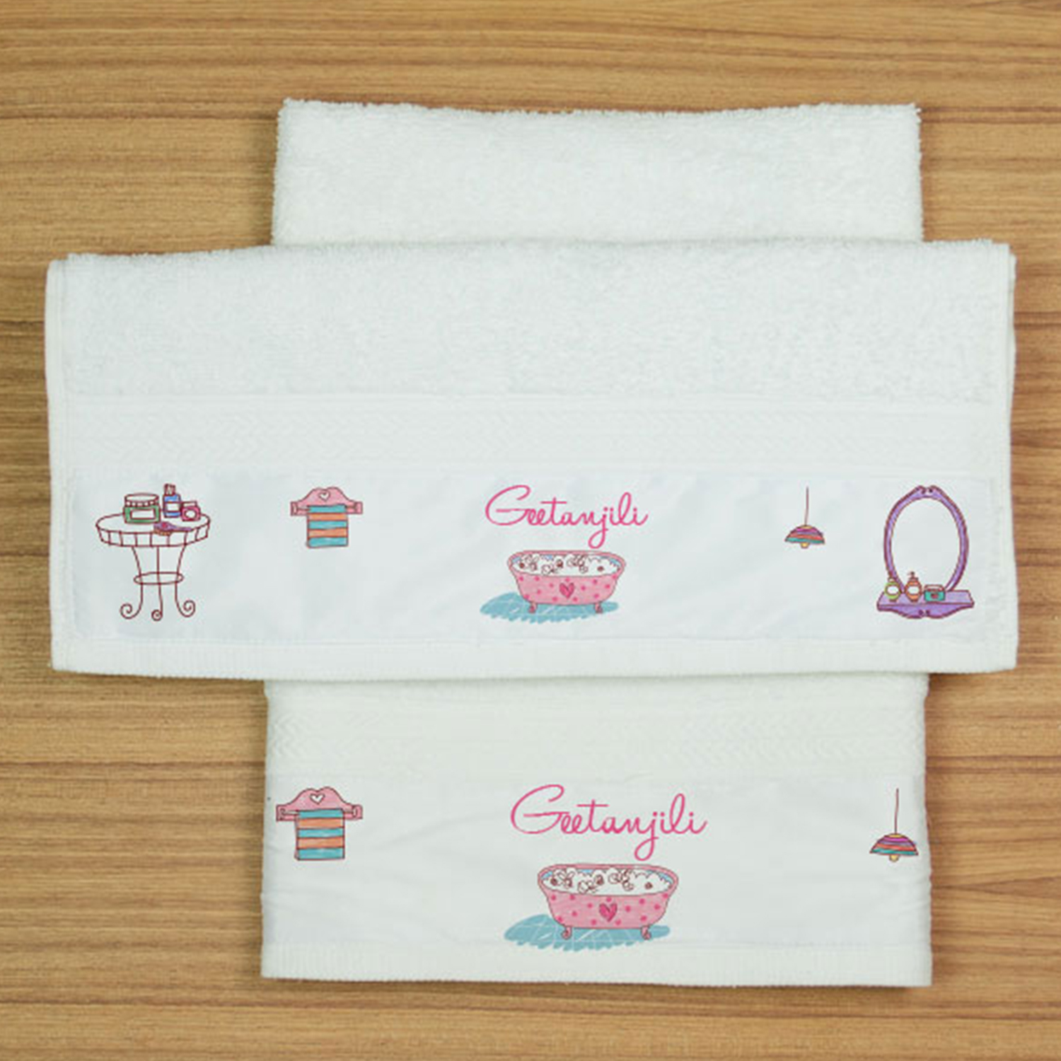 Preety And Pink Personalized Hand Towel