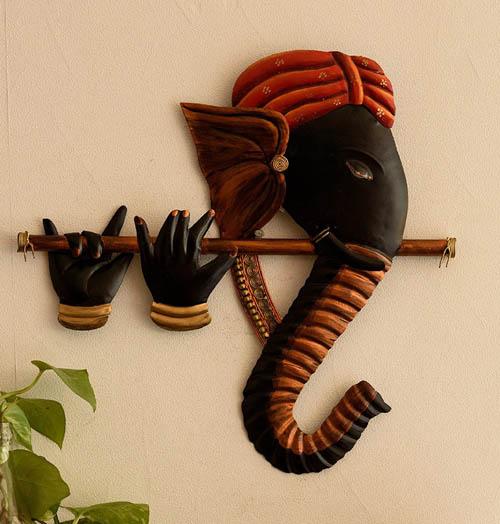 Wrought Iron Bansuri Ganesha Wall Hanging