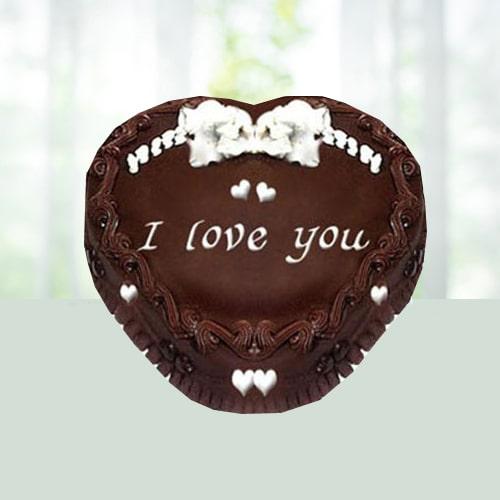 Eggless Heart Chocolate Truffle Cake