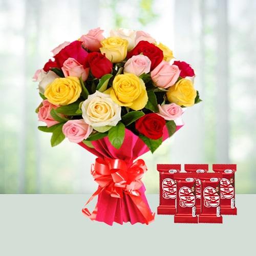 Rainbow Love - Mixed Roses And Chocolates