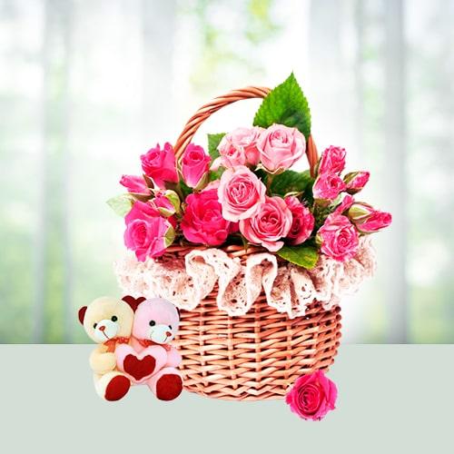 Love Teddy Bear Couple Flower Basket