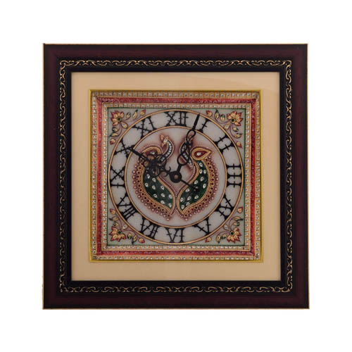 Twin Peocock Marble Handcrafted Wall Clock with LED & Wooden Frame