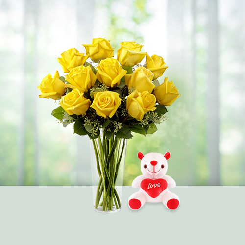Rose Vase and Teddy