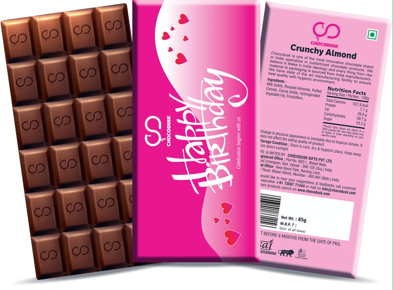 Happy Birthday (Pink) Chocolate Bar, 85 Gram,Set Of 2