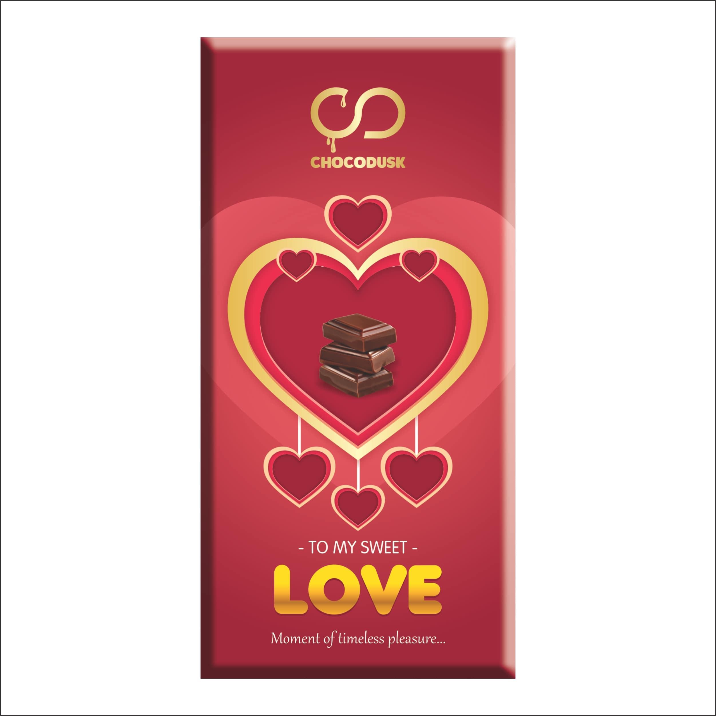 Love (Red) Chocolate Bar, 85 Gram ,Set Of 2.