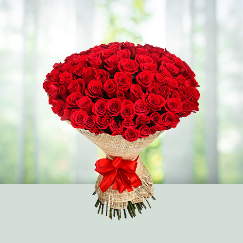 100 Red Roses Flowers Bouquet