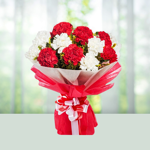 Red N White Carnation Flowers Bouquet