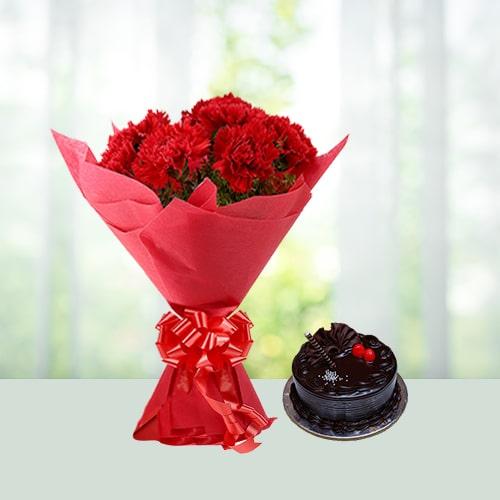 Carnations n Cake Combo