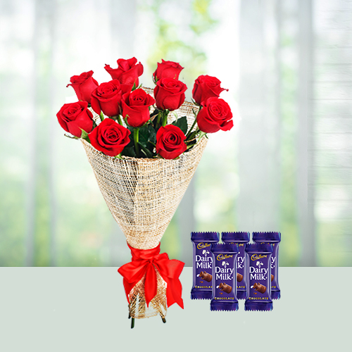 Red roses with chocolate combo