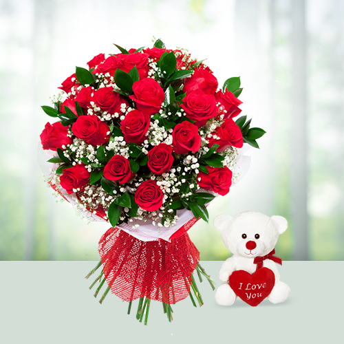 Flower Bouquet of 24 Red Roses with 6 inch Teddy Bear