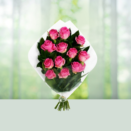 12 Pink Roses Flowers Bouquet