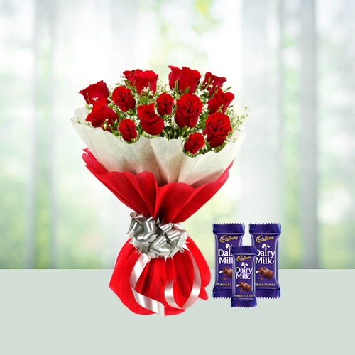Roses with assorted Chocolates