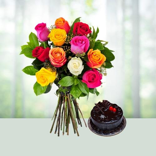 10 Mix Roses N Chocolate Cake