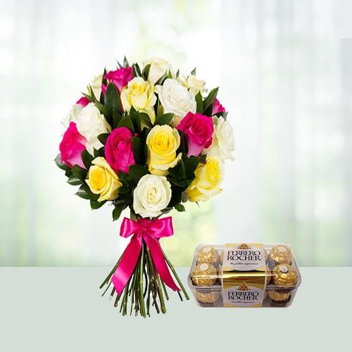 Roses with Ferrero Rocher box