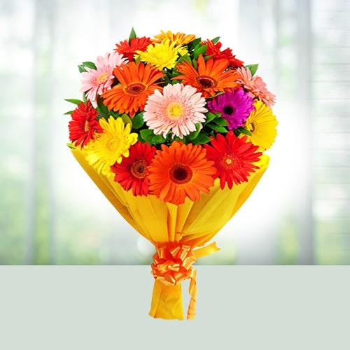 Flowers Bouquet of 12 Mix Gerberas