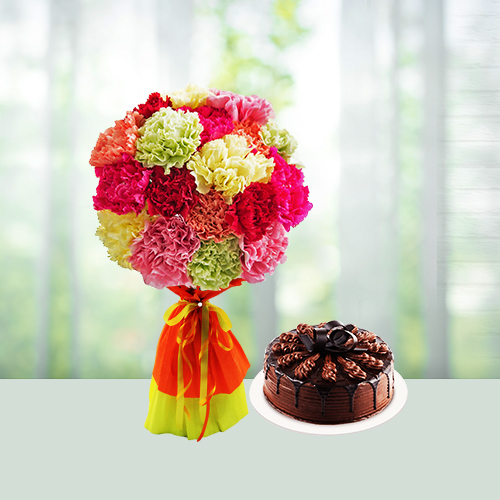 Mix carnations n cake combo