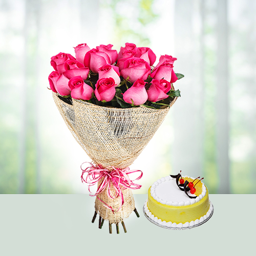 12 Pink Roses with Pineapple Cake