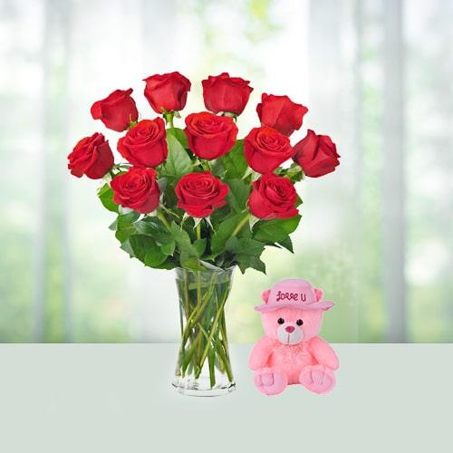 12 ROSES WITH TEDDY BEAR