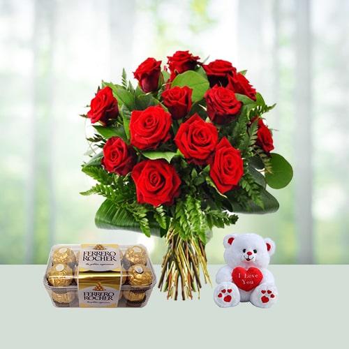 Roses With Ferrero Rocher N Teddy Combo