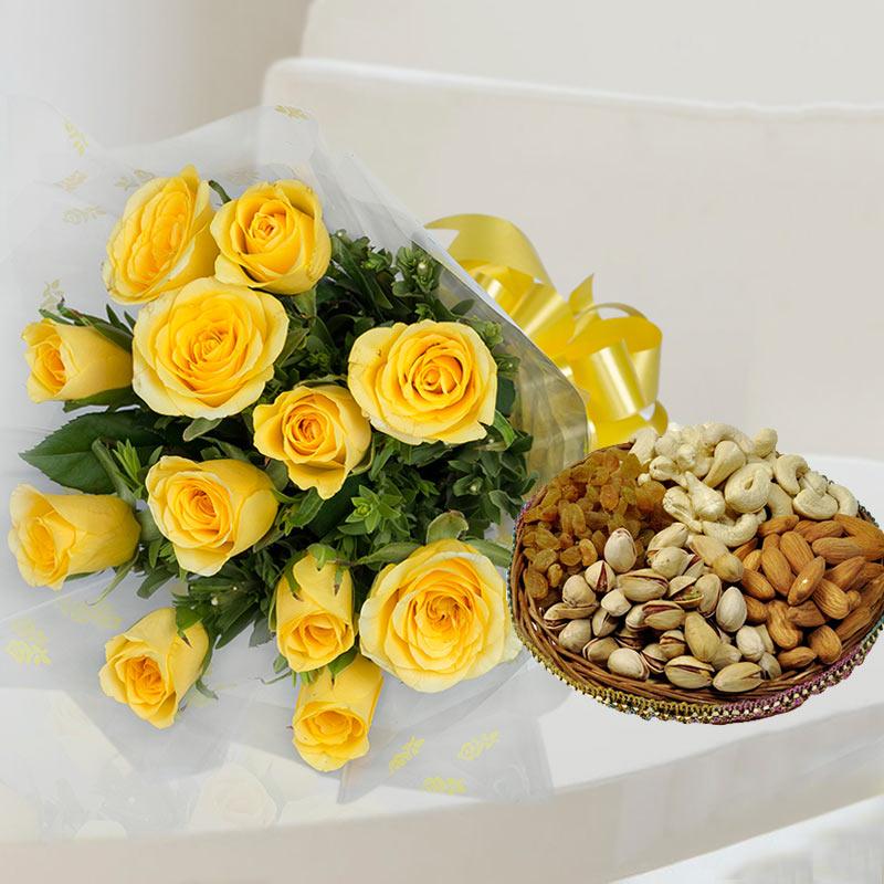 Yellow Roses Dryfruit Combo