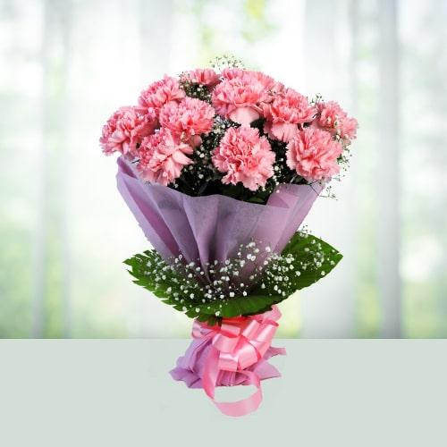 12 Pink carnations bouqet