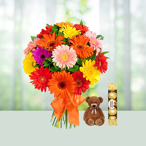 Beauty Of Gerberas with Chocolate