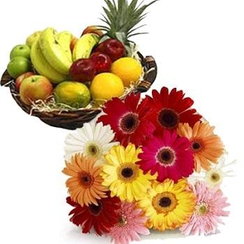 Gerbera And Mix Fruit Basket