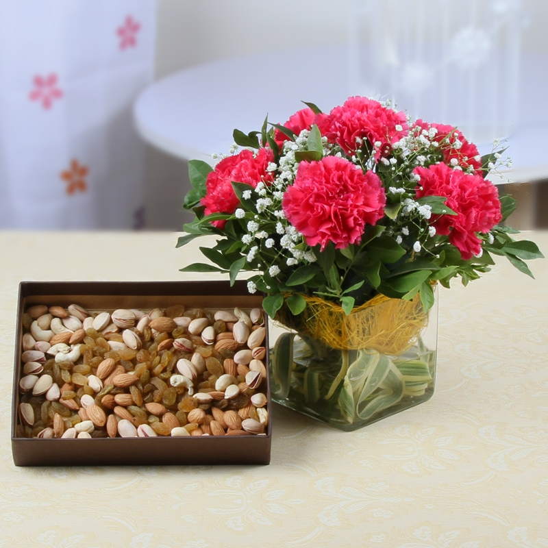 Carnation with Dryfruit Combo