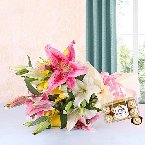 Send Gift-Assorted Lily Bouquet And Ferrero Rocher