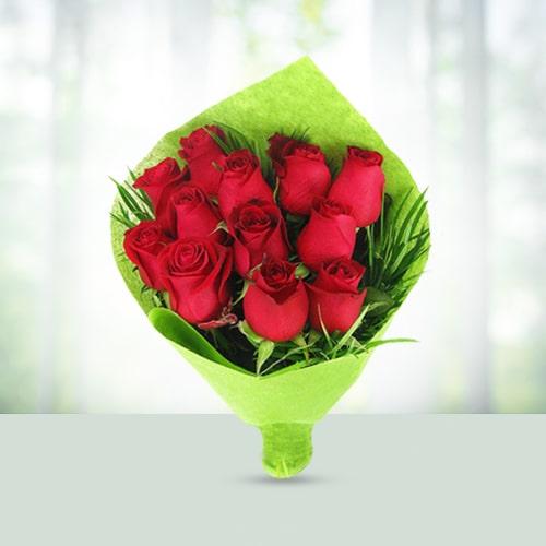 50 Red Roses Flowers Basket