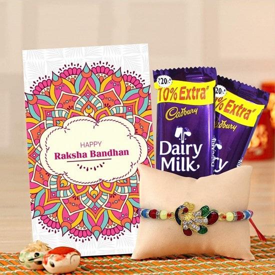 Designer Rakhi and Cadbury Dairy Milk