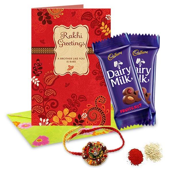 Designer Rakhi set with Cadbury dairy milk.
