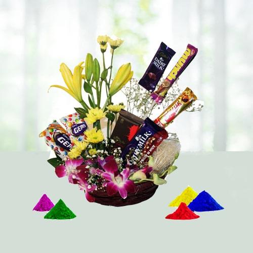 Exotic Flower N chocolate hamper For Holi
