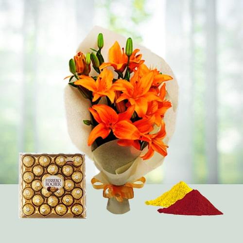 Exotic Hamper Of Flowers N Chocolate