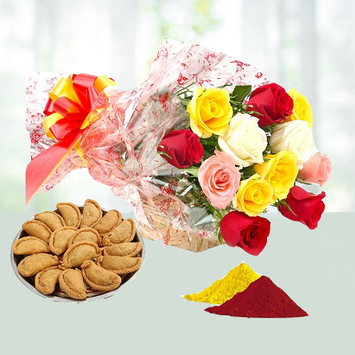 Holi Special Gujia N Flower Combo