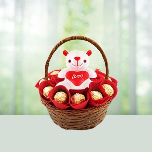 Ferrero Rocher Basket with Teddy