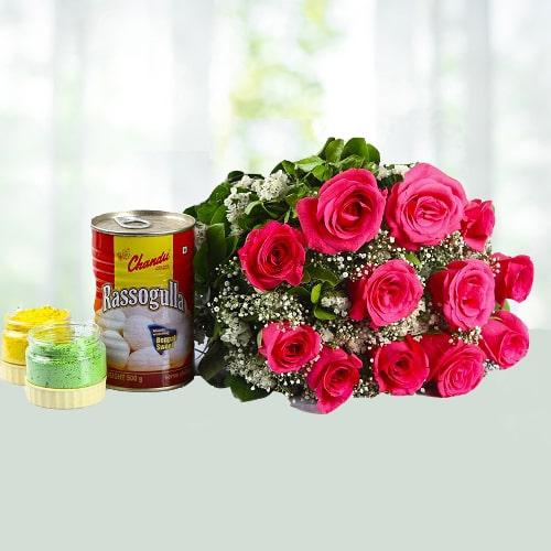 Holi Special Rasgulla N Rose Combo