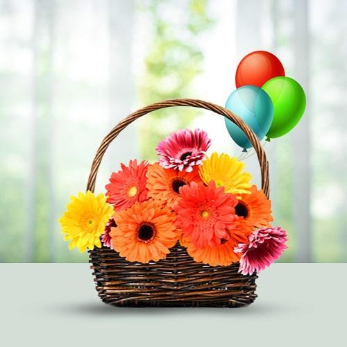 Flowers Basket-15 Mixed Gerberas- Balloons
