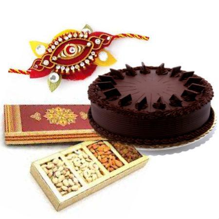 Rakhi with Cake and Dry Fruit