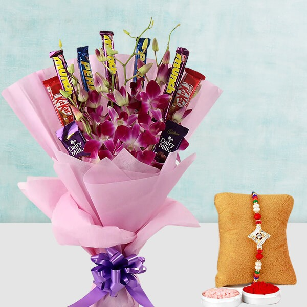 Orchid chocolate Bouquet and Rakhi