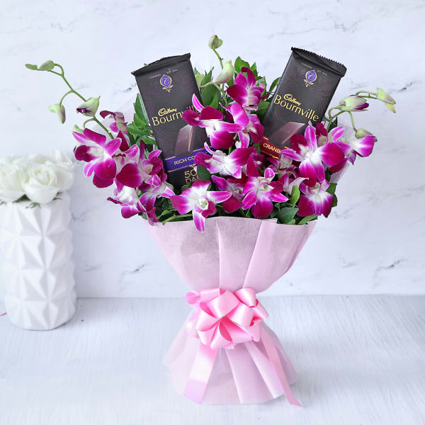 Send Gift-Orchids Bouquet with Cadbury Bournville