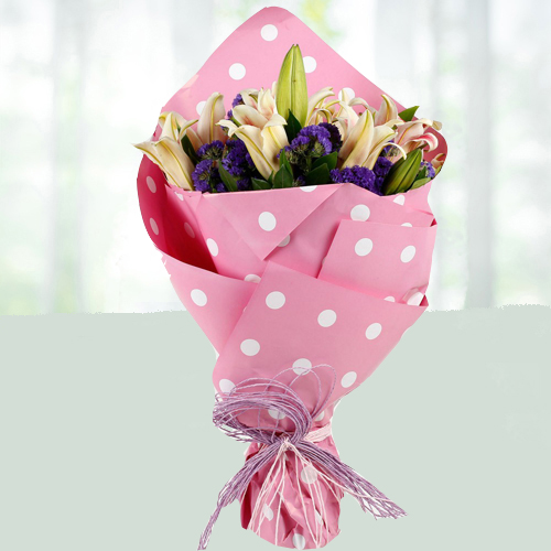 Love Frangrant Oriental pink lily Bouquet