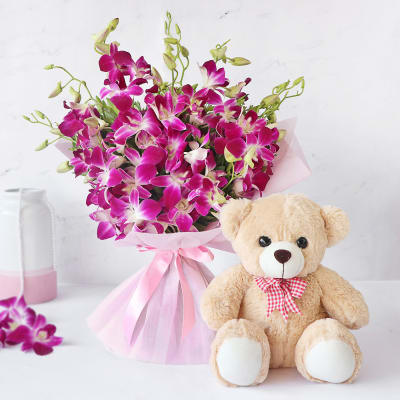 Send Gift-Bunch Of Orchids And Teddy