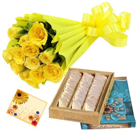 Rakhi with Kaju Roll and Roses