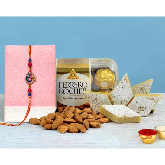 Designer Rakhi With Chocolates and Gifts Hampers